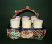 Rare Scottish Majolica Egg Cup Stand c1880
